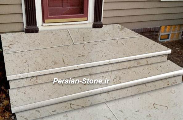 تصویر سنگ پله حیاط با مرمریت پرطاووسی