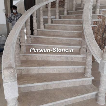 تصویر استفاده از سنگ پرطاووسی در راه پله دوبلکس